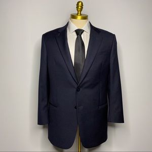 Armani Collezioni Blazer Blue Solid Wool Mens 42R